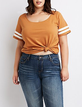 Plus Size Varsity Stripe Oversized Tee