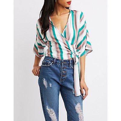 Striped Kimono Wrap Crop Top