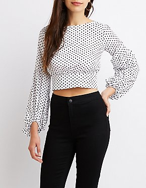 Polka Dot Tie-Back Crop Top