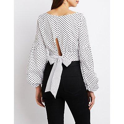 Polka Dot Tie-Back Crop Top