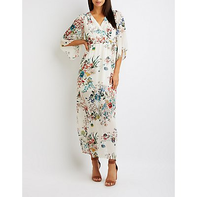 Floral Open-Back Wrap Maxi Dress