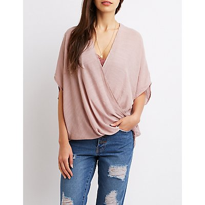 V-Neck Wrap High-Low Tunic Top