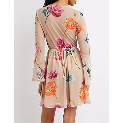 Floral Bell Sleeve Skater Dress