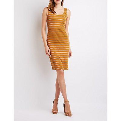 Striped Ribbed Bodycon Dress