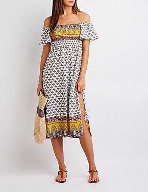 Border Print Off The Shoulder Dress