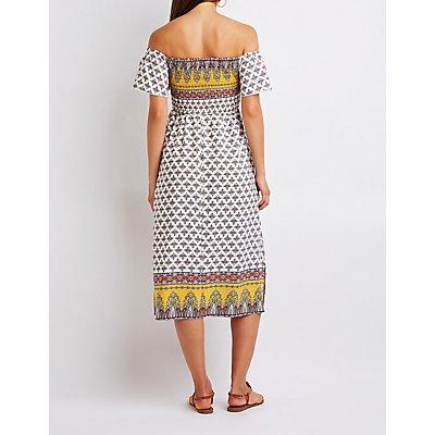 Border Print Off The Shoulder Dress