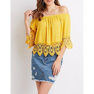 Crochet-Trimmed Off-The-Shoulder Top