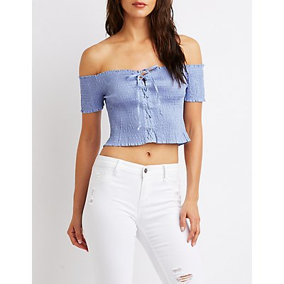Smocked Lace-Up Off-The-Shoulder Top