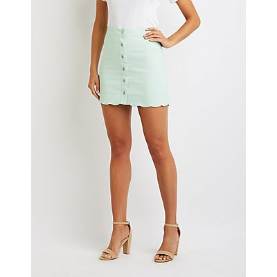 Scalloped Button-Up Mini Skirt