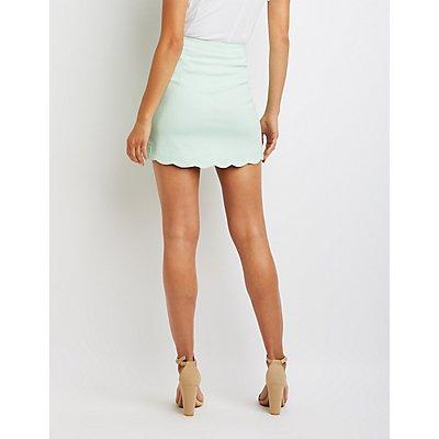 Scalloped Button-Up Mini Skirt