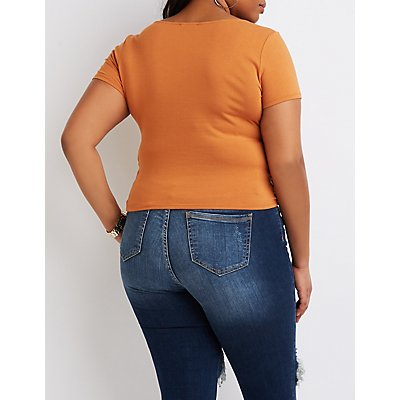 Plus Size Caged-Side Scoop Neck Crop Top