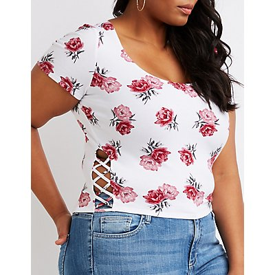 Plus Size Floral Caged-Side Crop Top