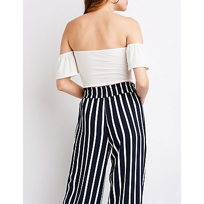 Knotted Off The Shoulder Crop Top