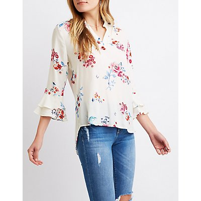 Ruffled-Trimmed V-Neck Top