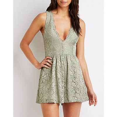 Lace V-Neck Romper