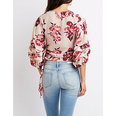 Floral Ruched Balloon Sleeve Wrap Top