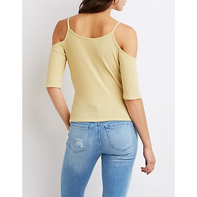 Ribbed Cold Shoulder Surplice Top