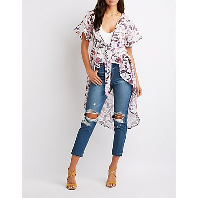 Floral High-Low Tie-Front Top