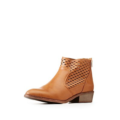 Perforated Faux Leather Ankle Booties