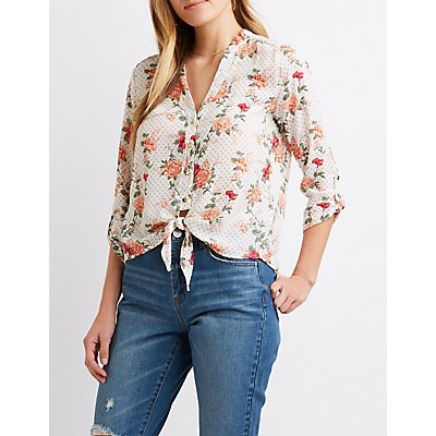 Floral & Polka Dot Front-Tie Button-Up Top