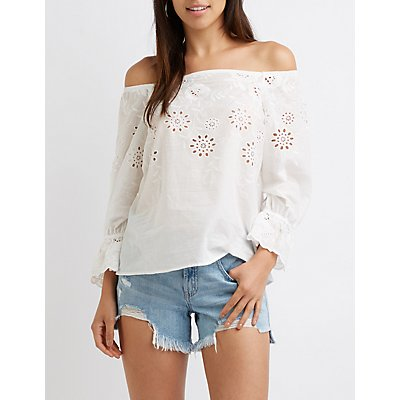 Floral Eyelet Off-The-Shoulder Top