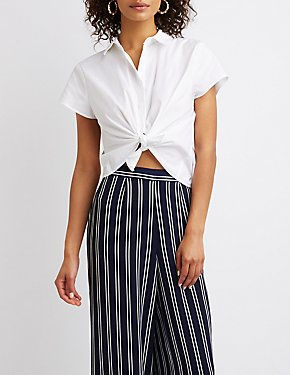Front-Tie Button-Up Crop Top