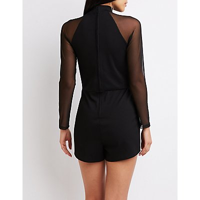 Mesh Sleeve Cut-Out Romper
