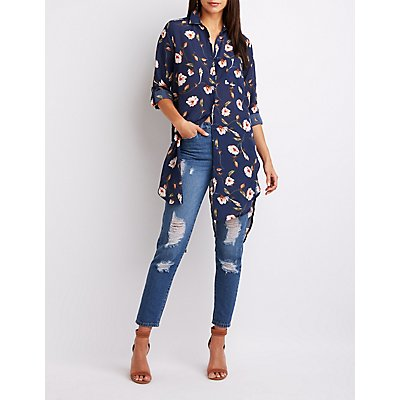 Floral Button-Up Tunic Top