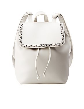 Metal Chain Faux Leather Backpack