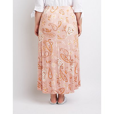 Plus Size Paisley Wrap Maxi Skirt