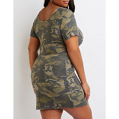 Plus Size Camo Knit Bodycon Dress