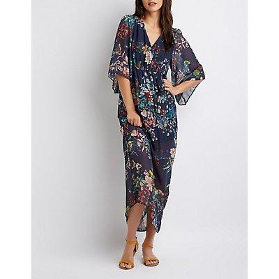 Floral Kimono Sleeve Maxi Dress