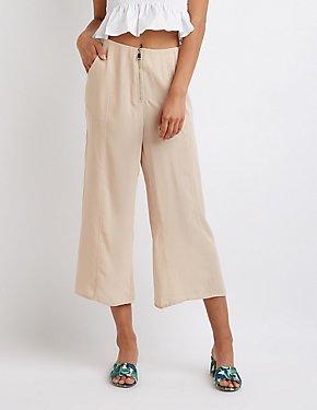 Zip Front Culotte Pants
