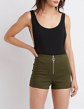 Zip Up High Rise Cheeky Shorts