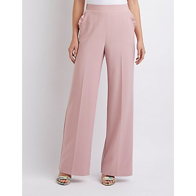 Ruffle Pocket Palazzo Pants by Charlotte Russe