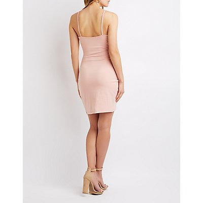 Ruched Bodycon Wrap Dress