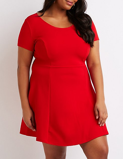 a21b93908ae Plus Size Scoop Neck Skater Dress ...