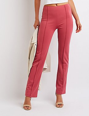 Pleated Slim Leg Trousers