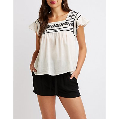 Embroidered Square Neck Top