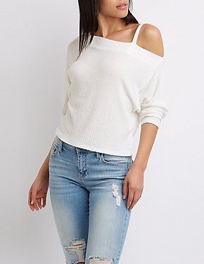 Waffle Knit Asymmetrical One-Shoulder Top