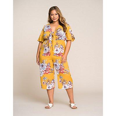 Plus Size Floral Tie Front Jumpsuit