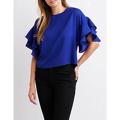 Ruffle-Trimmed Bell Sleeve Top