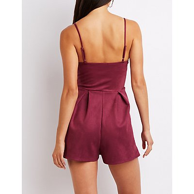 Faux Suede Notched Romper