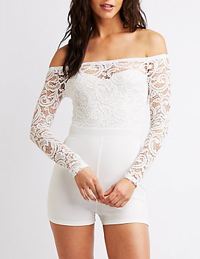 Floral Lace Off-The-Shoulder Romper