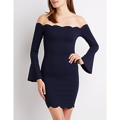 Off-The-Shoulder Scallop Bodycon Dress