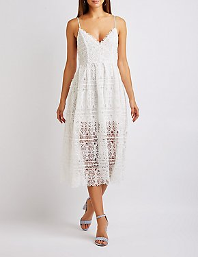 Crochet V-Neck Midi Dress