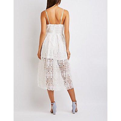 Crochet V-Neck Midi Dress