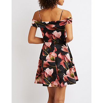 Floral Cut-Out Cold Shoulder Dress