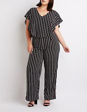 Plus Size Striped Ruffle-Trimmed Wide Leg Jumpsuit