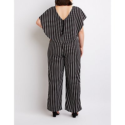Plus Size Striped Ruffle-Trimmed Wide Leg Jumpsuit